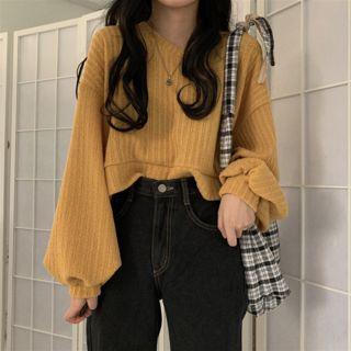 monroll - Suéter corto de punto de canalé