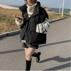 Anlay - Striped TurtleNeck  Loose-Fit Sweater / Loose-Fit Padded Vest