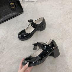 miss baby - 粗跟瑪莉珍平跟鞋