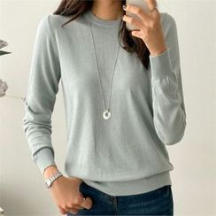 PIPPIN - Round Neck Plain Knit Top