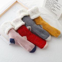 Alaysia - 双色内加绒袜子