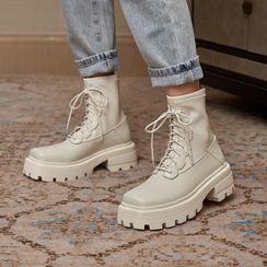 JY Shoes - Genuine Leather Lace Up Platform Short Boots