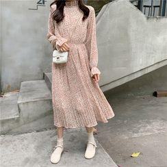 Miss Bearie - Floral Long-Sleeve Midi A-line Dress