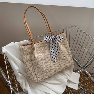 Yellowtail(イエローテール) - Woven Dotted Bow Tote Bag
