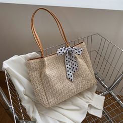 Yellowtail - Woven Dotted Bow Tote Bag