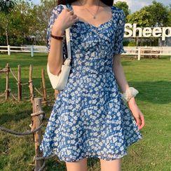 Ashlee - Short-Sleeve Floral Print A-Line Mini Dress