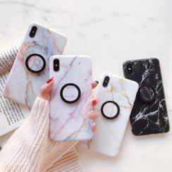 Rockit - Ring Stand Marble Print Mobile Case - iPhone XS Max / XS / XR / X / 8 / 8 Plus / 7 / 7 Plus / 6s / 6s Plus