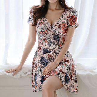 Yilda - Flower Print Short-Sleeve A-Line Mini Dress