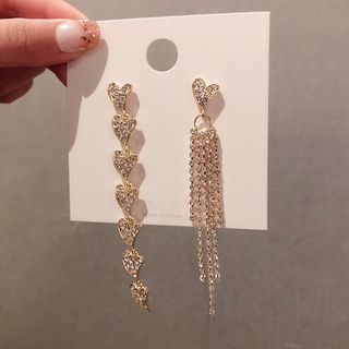 LIVSIA - Non-matching Rhinestone Heart Fringed Earring