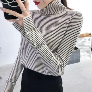 Norte - Turtleneck Striped Knit Top