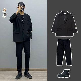 Avilion(アヴィリオン) - Lettering Loose-Fit Blazer / Long-Sleeve Plain T-Shirt / Plain Pants
