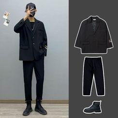 Avilion - Lettering Loose-Fit Blazer / Long-Sleeve Plain T-Shirt / Plain Pants