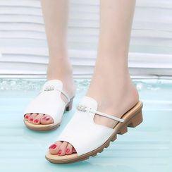 Tania - Rhinestone Slide Sandals