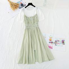 NINETTE - Set: Short-Sleeve Top + Strappy Midi A-Line Dress