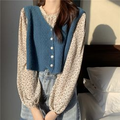 Moon City - Plain Crop Sweater Vest / Long-Sleeve Floral Blouse / Long-Sleeve Lace Top
