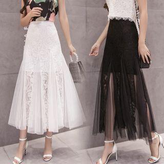 Emeraude - Lace Panel Maxi A-Line Mesh Skirt