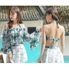 Shomme - Set: Floral Halter-Neck Bikini Top + Lace Panel Swim Skort + Cover-Up Top