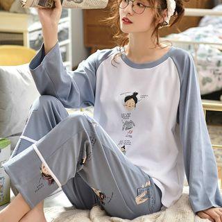 Jeony - Print Long-Sleeve Loungewear Set