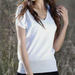 Waysha - Plain Short Sleeve V-Neck T-Shirt