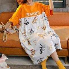 Lion Sniff - 短袖小兔印花家居服连衣裙