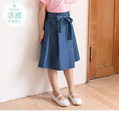 OrangeBear - Kids Tie-Waist Denim A-Line Skirt