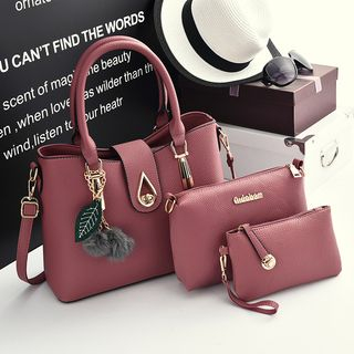 Tiane - Set: Faux-Leather Handbag + Shoulder Bag + Pouch