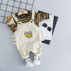 Mini Bae - Kids Set: Long-Sleeve Striped T-Shirt + Embroidery Overalls