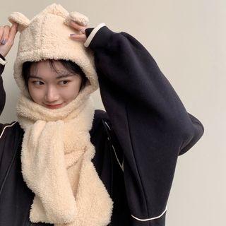 CIMAO - Fleece Bear Ear Hooded Scarf