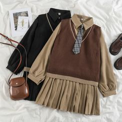 PUYE - Shirtdress / Knit Sweater Vest / Plaid Neck Tie