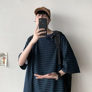 FOEV - Striped Elbow-Sleeve T-Shirt