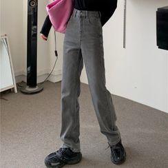 monroll - High-Waist Straight Leg Jeans