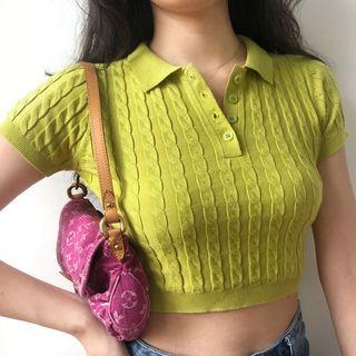 Sinora - Short-Sleeve Cable Knit Polo Shirt