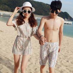 Morning Dew - Couple Matching Printed Bikini / Cover-Up / Swim Trunk / Set