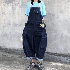 Koiyua - 配色飾縫線牛仔工裝背帶褲