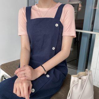 MERONGSHOP - Sleeveless Buttoned Long Wrap Dress