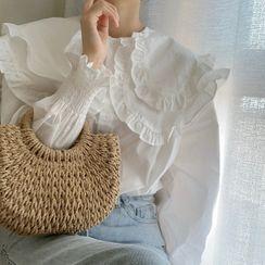 Windcatcher - 喇叭袖多層飾領荷葉邊襯衫