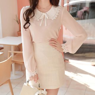 MyFiona - Crochet-Trim Sheer-Sleeve Blouse with Brooch