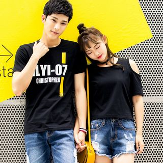 NoonSun - Couple Matching Lettering Short-Sleeve T-Shirt
