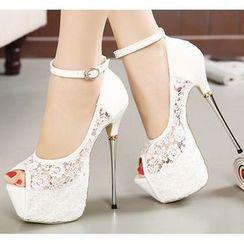 Niuna - 踝带厚底蕾丝露趾高跟鞋