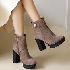 Megan - Chunky Heel Platform Faux Pearl Short Boots