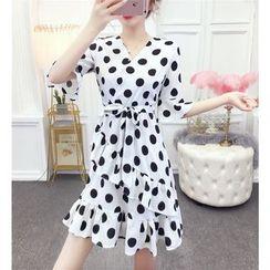 Jangmi - Dotted Elbow-Sleeve A-Line Dress