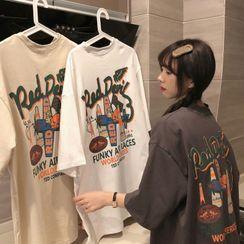 Ashlee - Oversized Short-Sleeve Printed T-Shirt