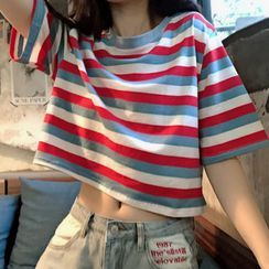 Dream Drop - Striped Elbow-Sleeve Cropped T-Shirt