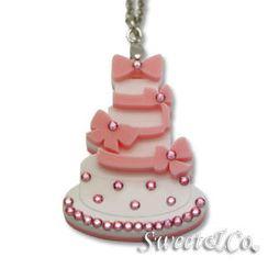 Sweet & Co. - Sweet Pink dolly cake swarovski pendant silver necklace