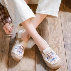Kyotopia - Embroidered Espadrille Slip-Ons