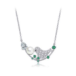 BELEC - Fashion and Elegant Bird Cubic Zirconia Necklace with Imitation Pearls