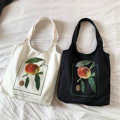 Basaran - Peach Print Canvas Tote Bag
