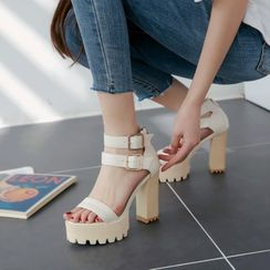 JY Shoes - Double Ankle Strap Buckled Chunky Heel Platform Sandals