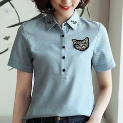 In the Mood(インザムード) - Pinstriped Short-Sleeve Shirt