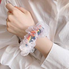Yunikon - 彩虹條紋網紗髮圈
